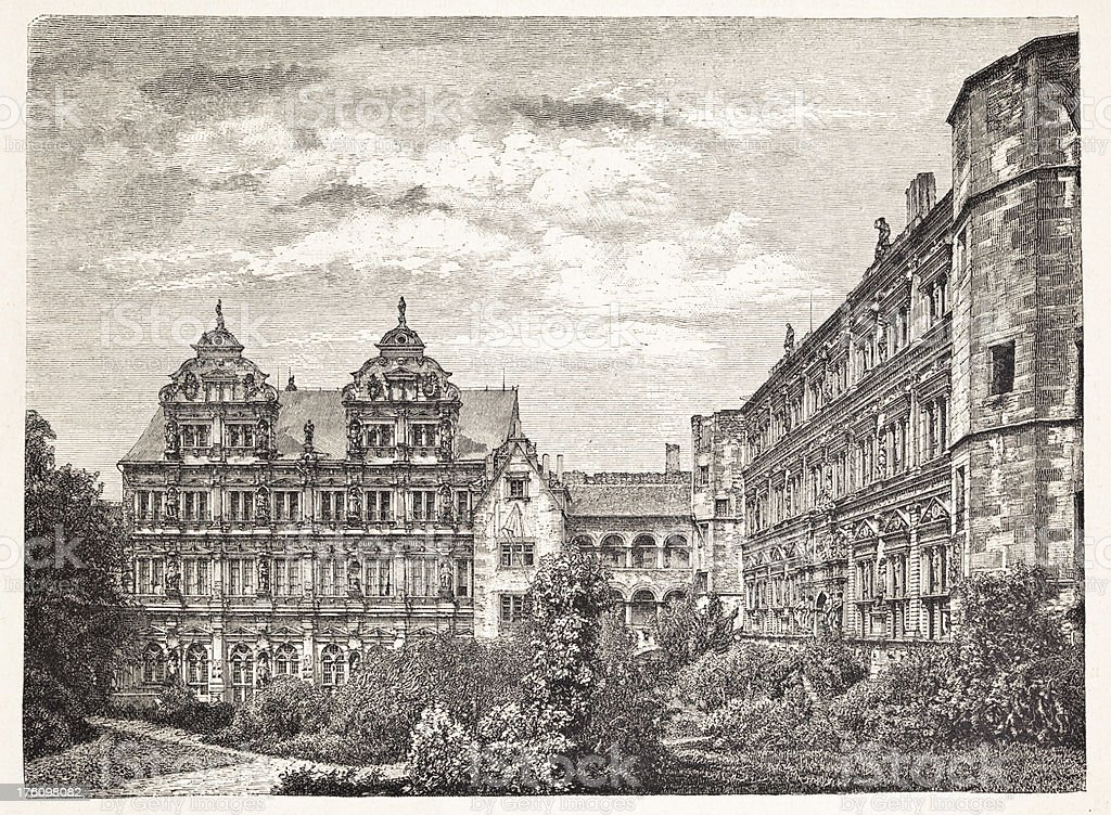 Engraving Castle of Heidelberg Germany 1883 vector art illustration
