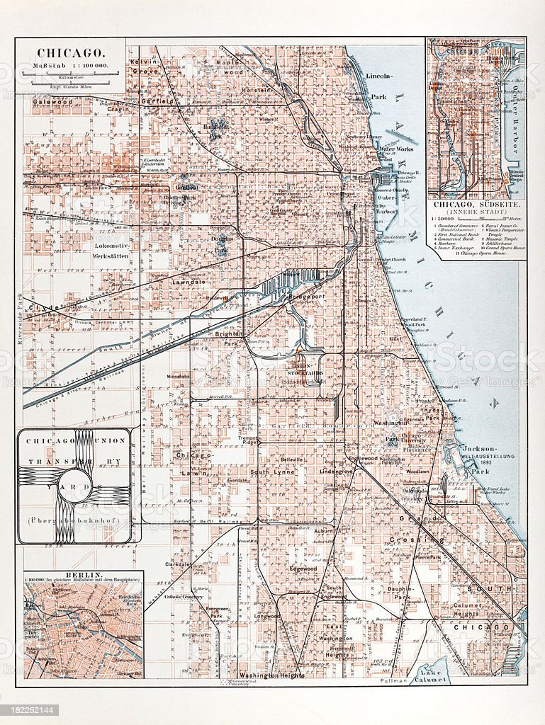 Engraving city map of Chicago from 1882 vector art illustration
