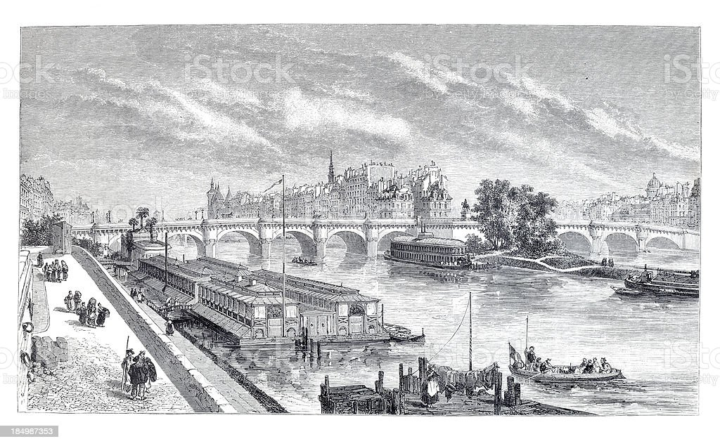 Engraving city of Paris with Seine and Pont Neuf vector art illustration