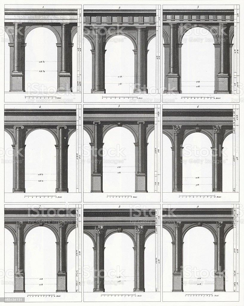 Engraving: Classic Arcades vector art illustration