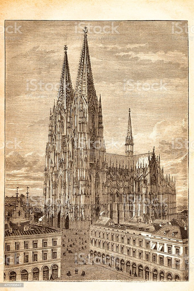 Engraving Cologne Cathedral Germany 1881 royalty-free stock vector art