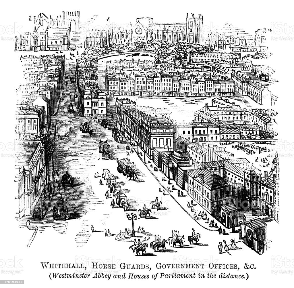 Engraving depicting Whitehall, Horse Guards etc. London  vector art illustration