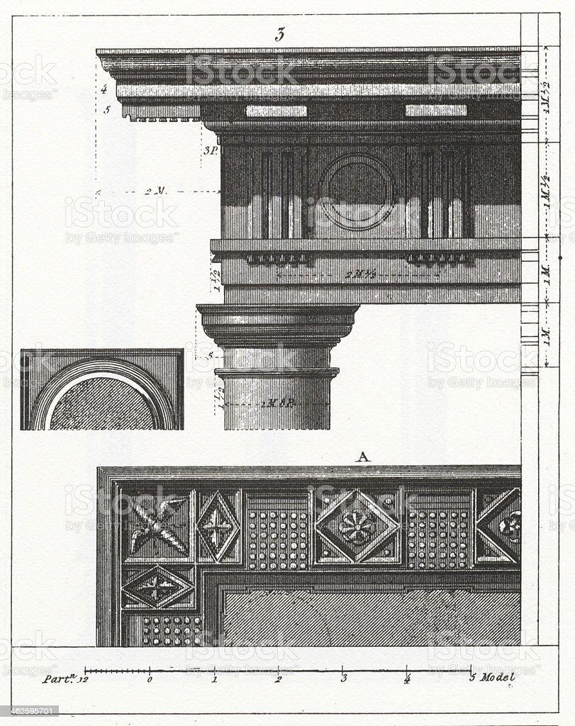 Engraving: Doric Capital royalty-free stock vector art