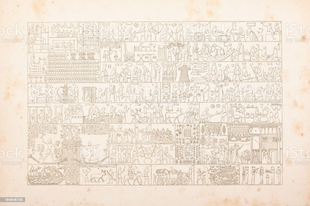 Engraving egyptian hieroglyphics of daily life vector art illustration
