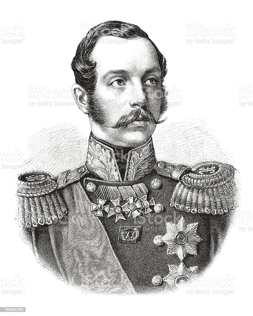 Engraving emperor Alexander II of Russia from 1882 royalty-free stock vector art