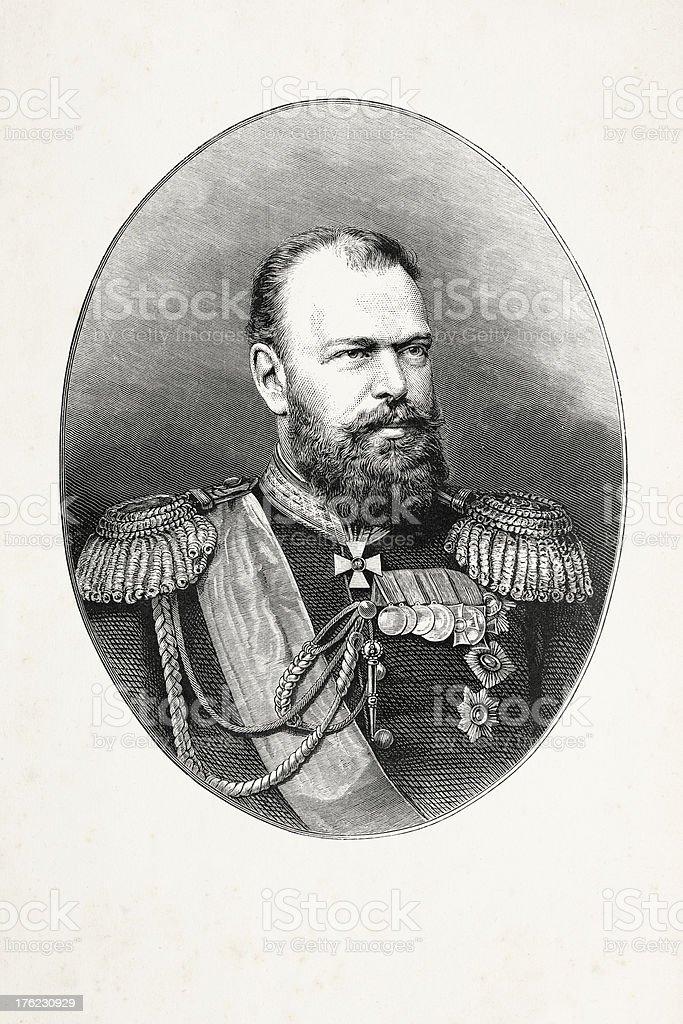 Engraving emperor Alexander III of Russia royalty-free stock vector art