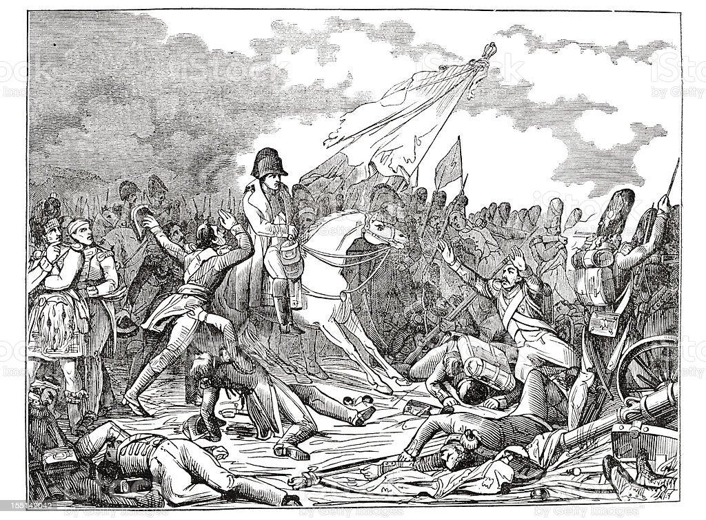 Engraving emperor Napoleon at Battle of Waterloo 1835 vector art illustration
