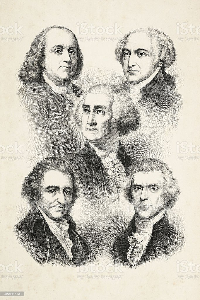 Engraving five presidents of USA 1850 vector art illustration