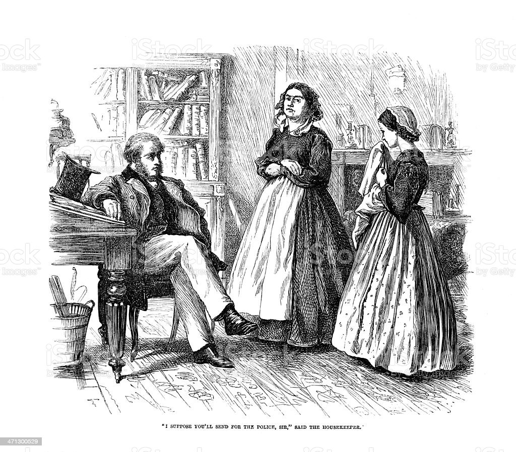 Engraving from 1864 magazine family scene vector art illustration
