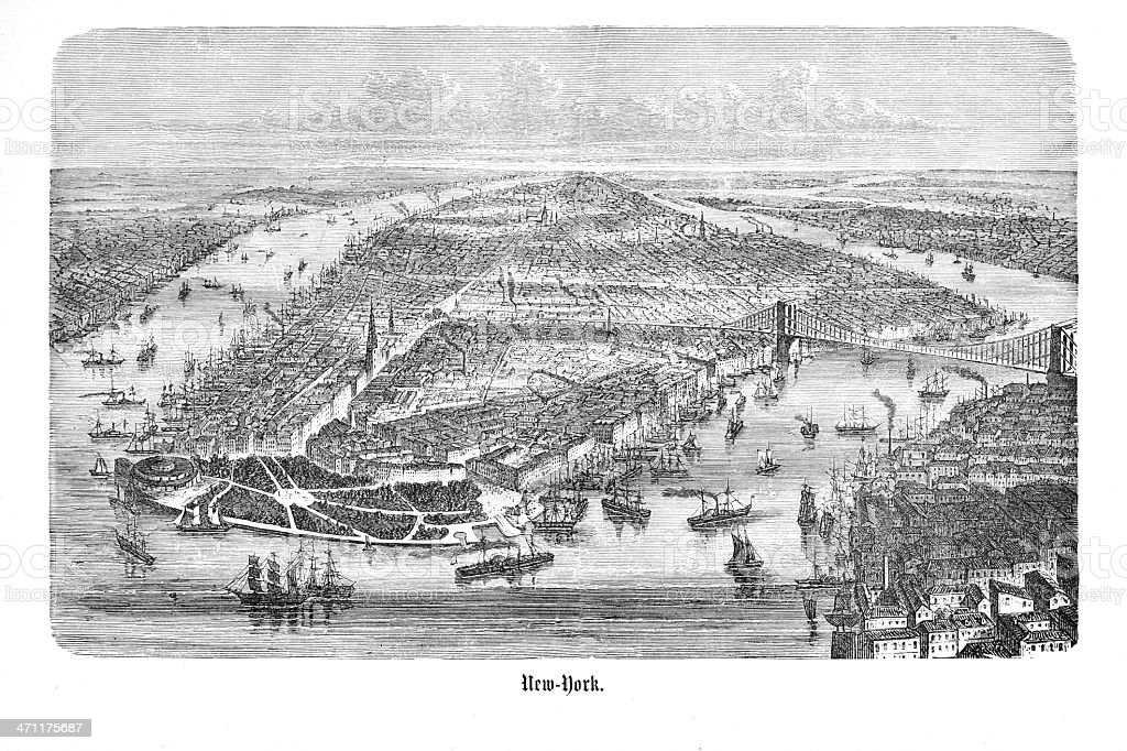 Engraving from New York Manhattan 1874 royalty-free stock vector art