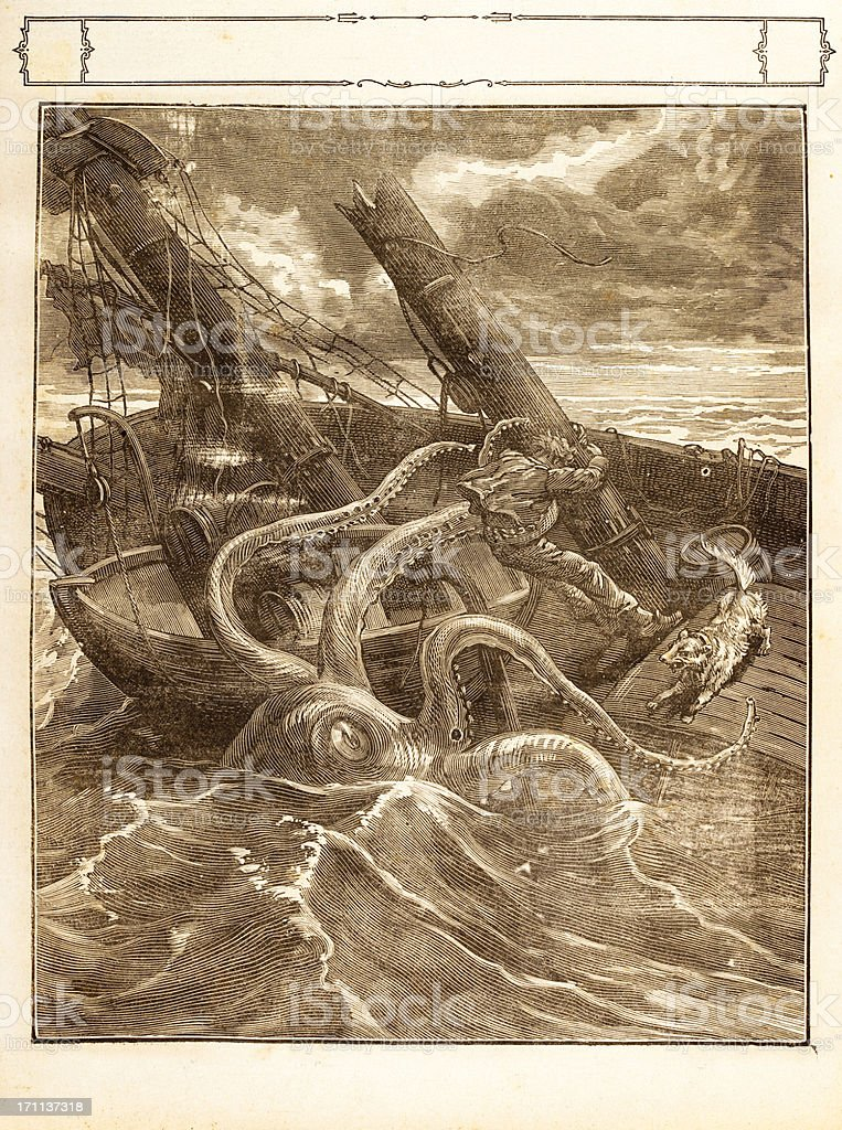 Engraving Giant octopus catching a sailor 1881 royalty-free stock vector art
