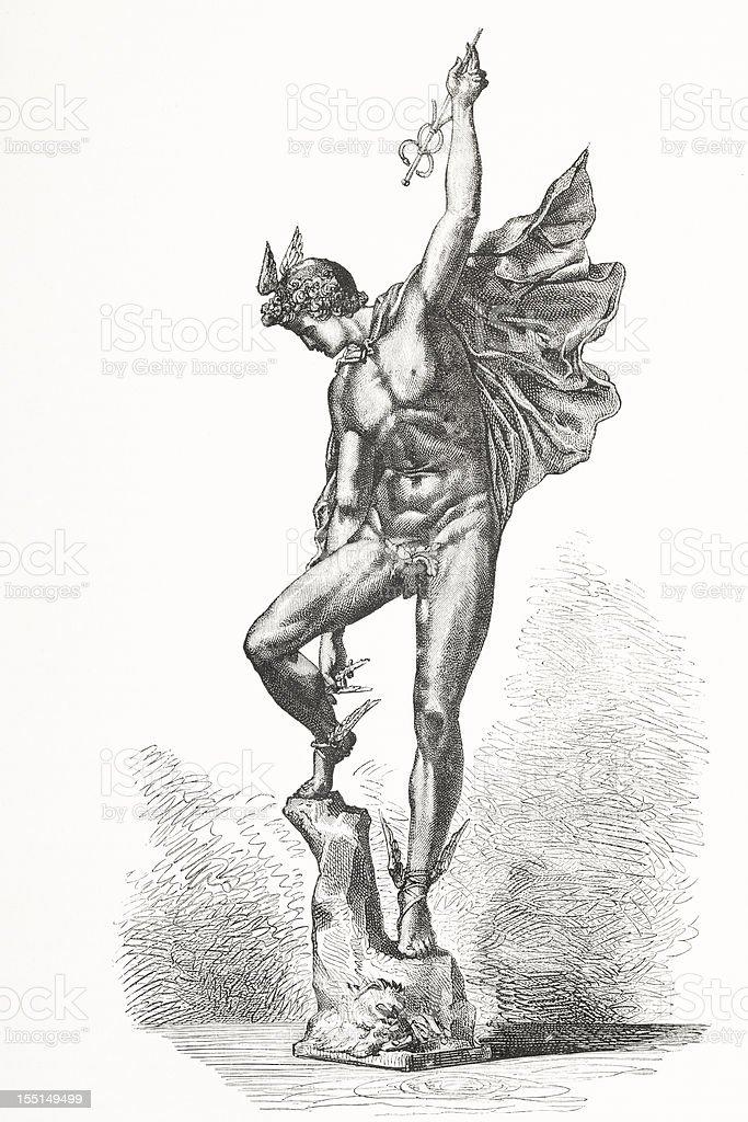 Engraving god of trade mercury from 1875 vector art illustration
