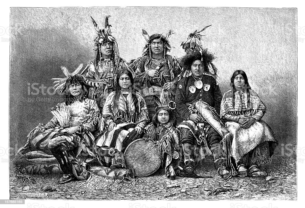 Engraving group of native americans from 1870 vector art illustration