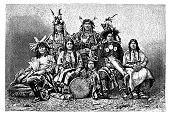 Engraving group of native americans from 1870