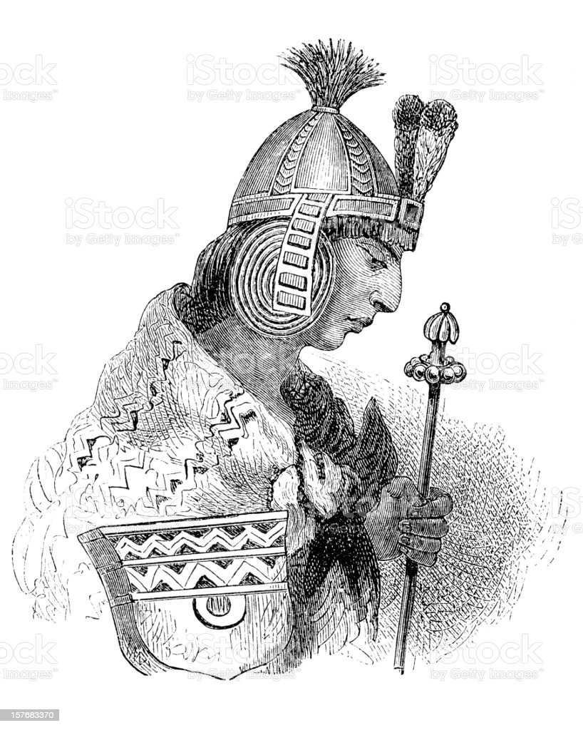 Engraving inca prince portrait from 1870 isolated on white vector art illustration