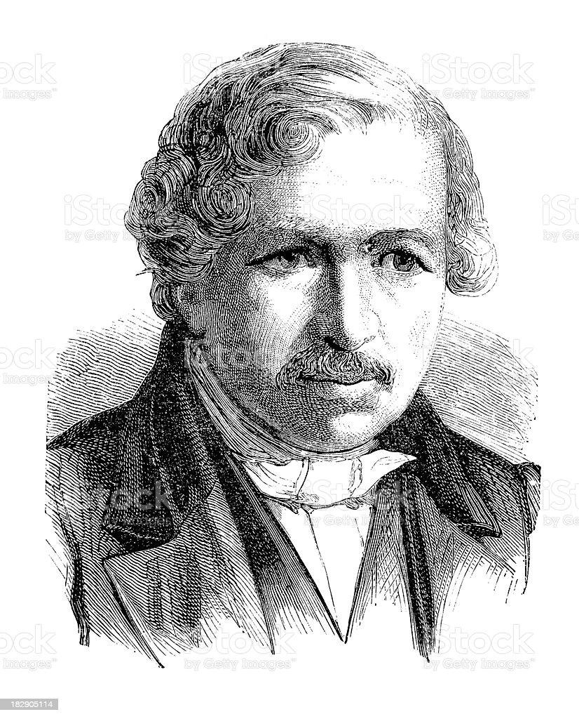 Engraving inventor of daguerreotype Louis Daguerre from 1870 vector art illustration