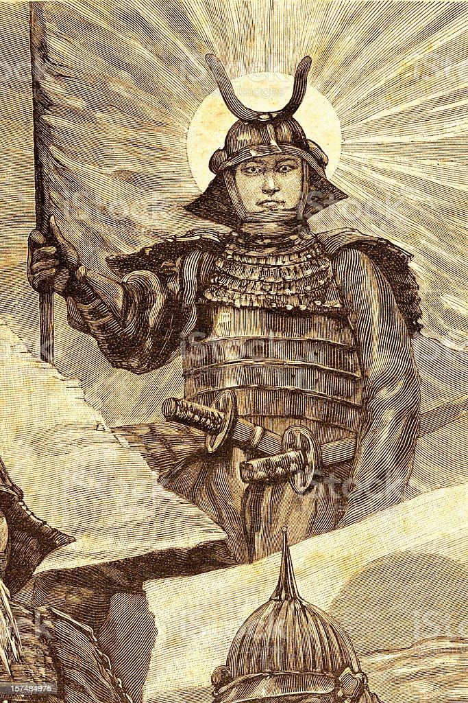 Engraving Japanese warrior 1881 royalty-free stock vector art