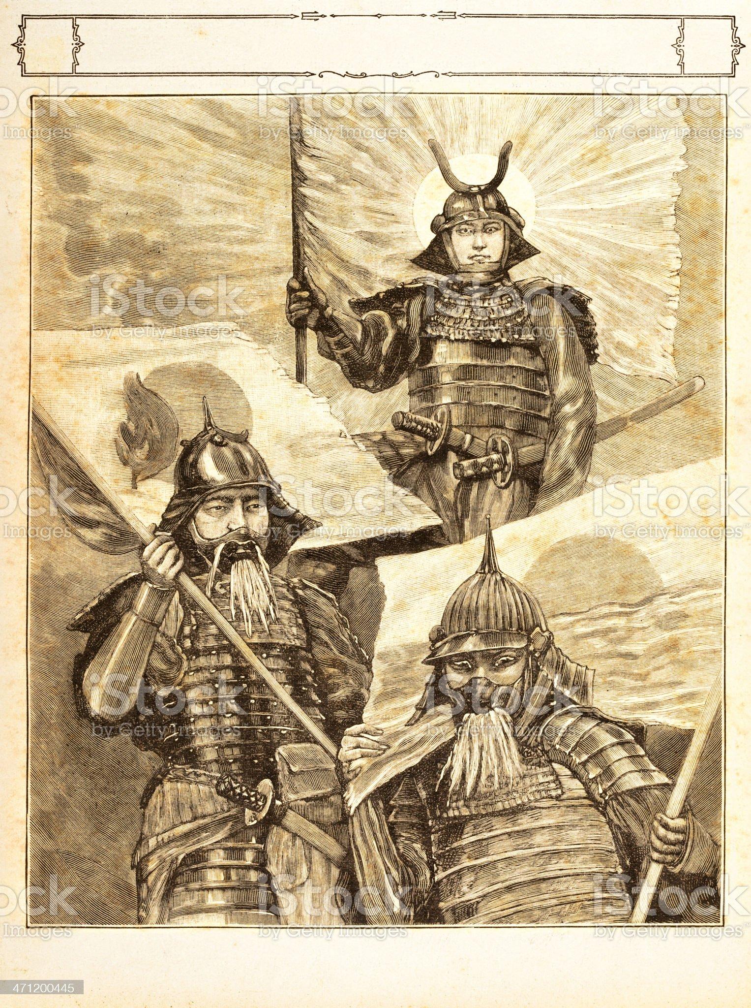 Engraving Japanese warriors 1881 royalty-free stock vector art