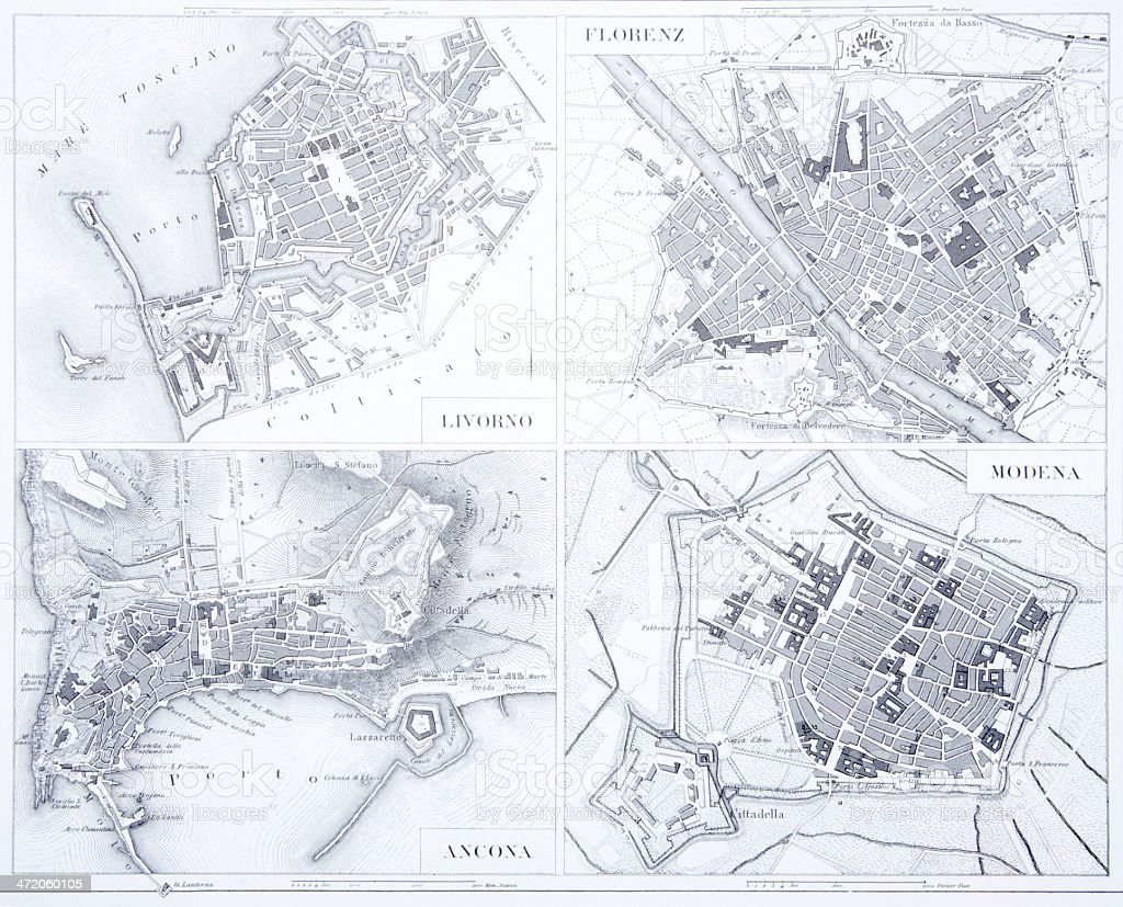 Engraving: Leghorn, Florence, Ancona and Modena vector art illustration