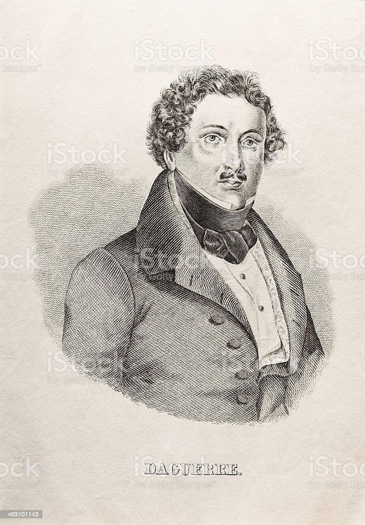 Engraving Louis Daguerre 1850 vector art illustration