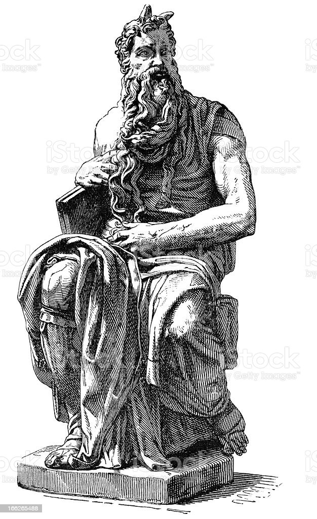 Engraving Michelangelo's Moses San Pietro Vincoli in  Rome Italy royalty-free stock vector art