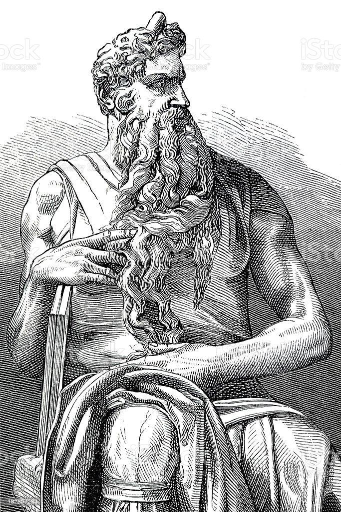 Engraving Michelangelo's Moses San Pietro Vincoli Rome Italy royalty-free stock vector art