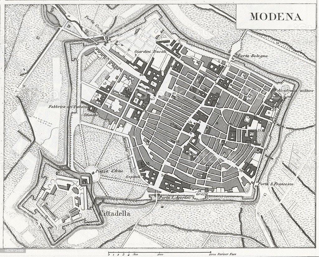 Engraving: Modena vector art illustration