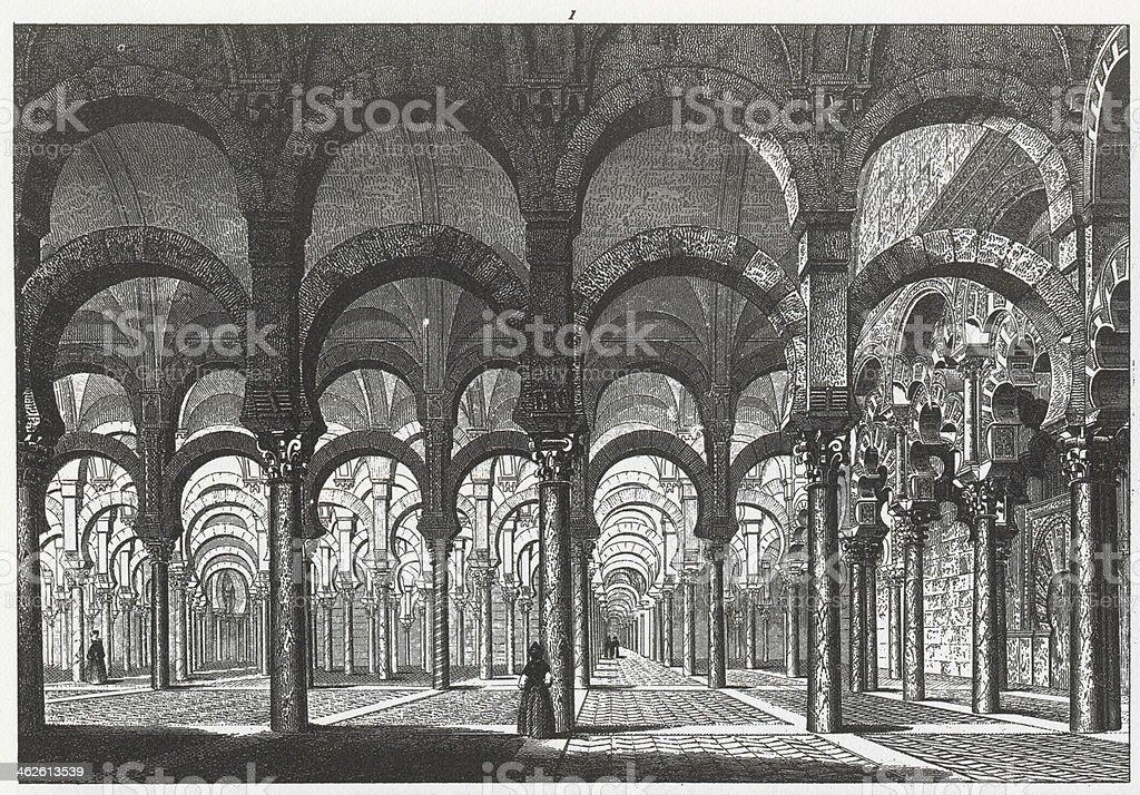 Engraving: Mosque of Cordova vector art illustration
