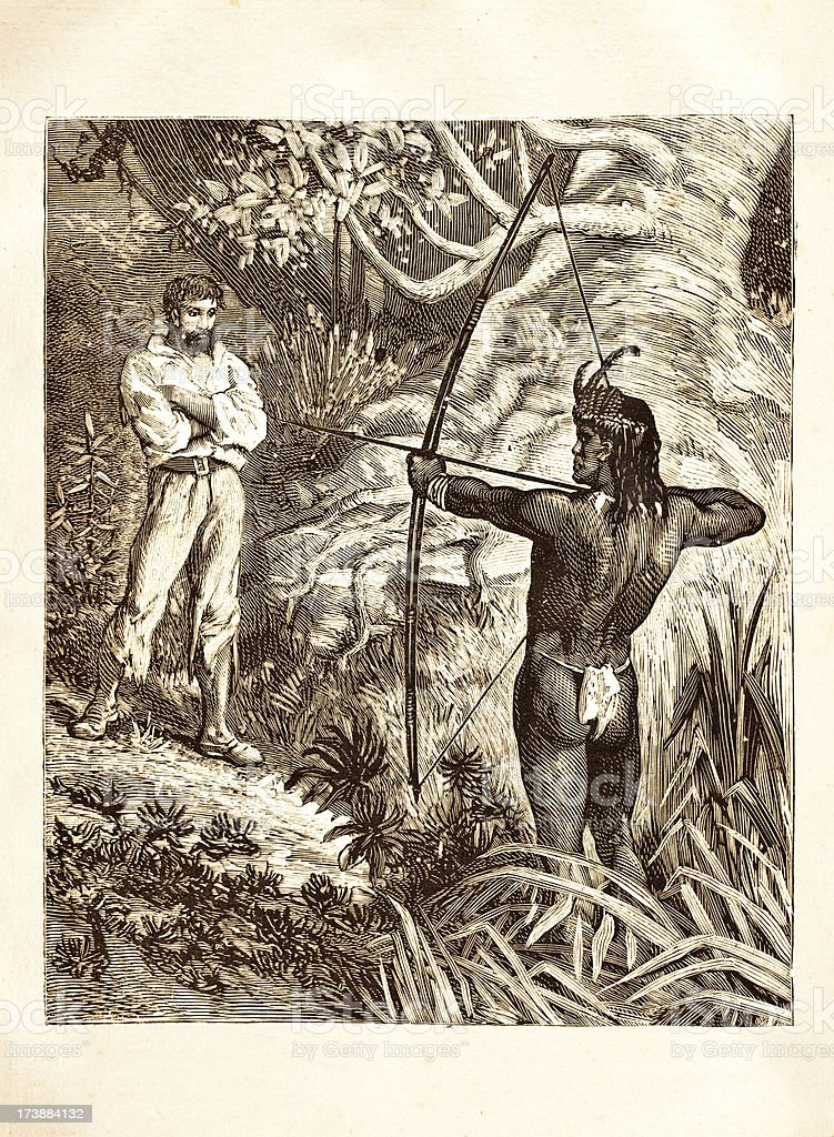 Engraving native american attacking white farmer 1881 royalty-free stock vector art