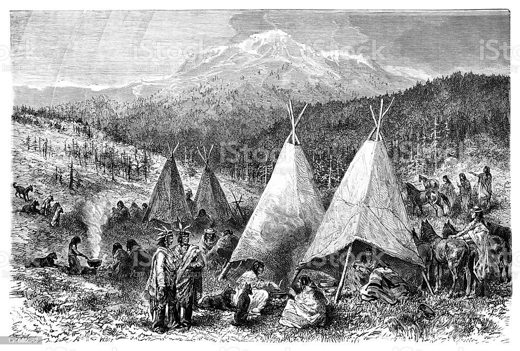 Engraving native american encampment from 1870 vector art illustration