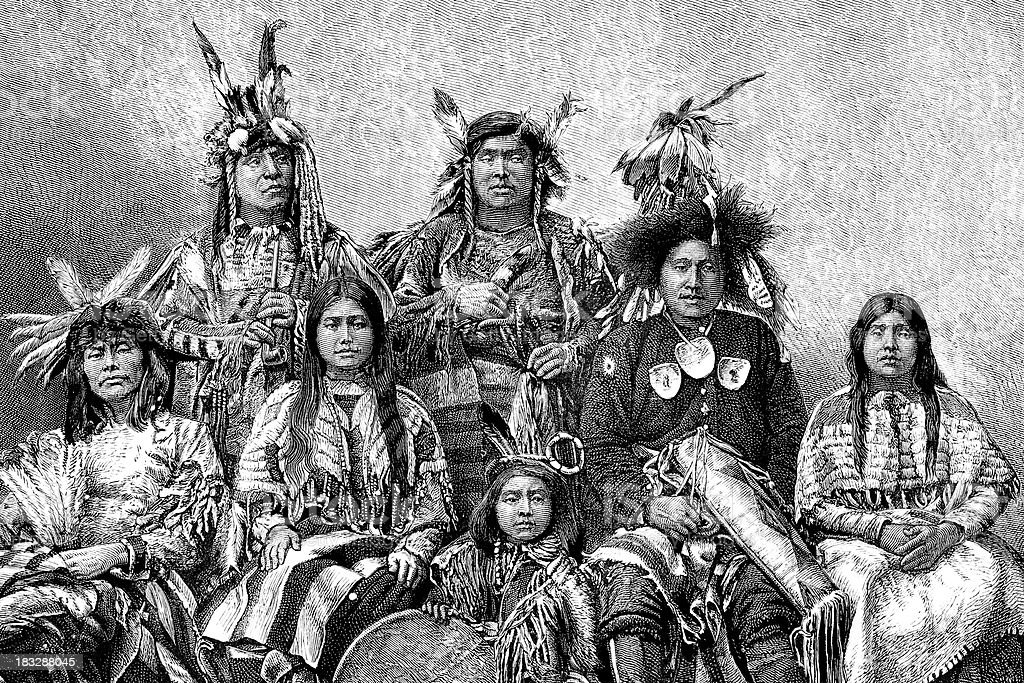 Engraving native american group of people from 1870 vector art illustration