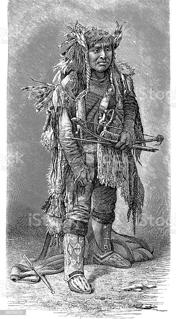 Engraving native american tribal chief from Warm Springs vector art illustration