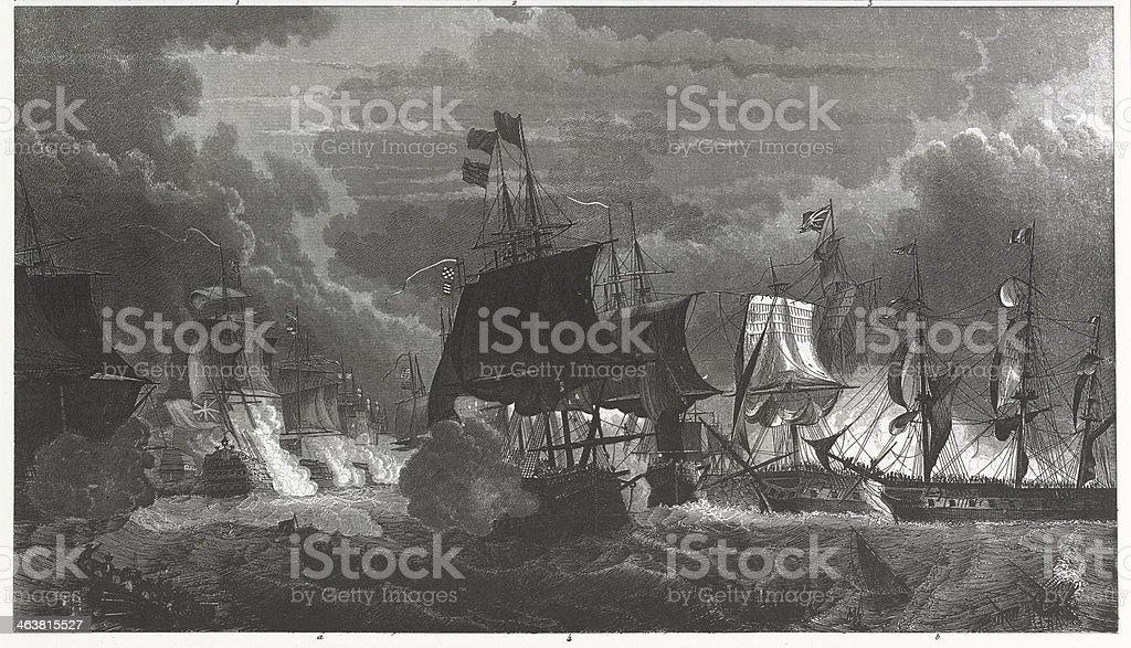 Engraving: Naval Battle royalty-free stock vector art