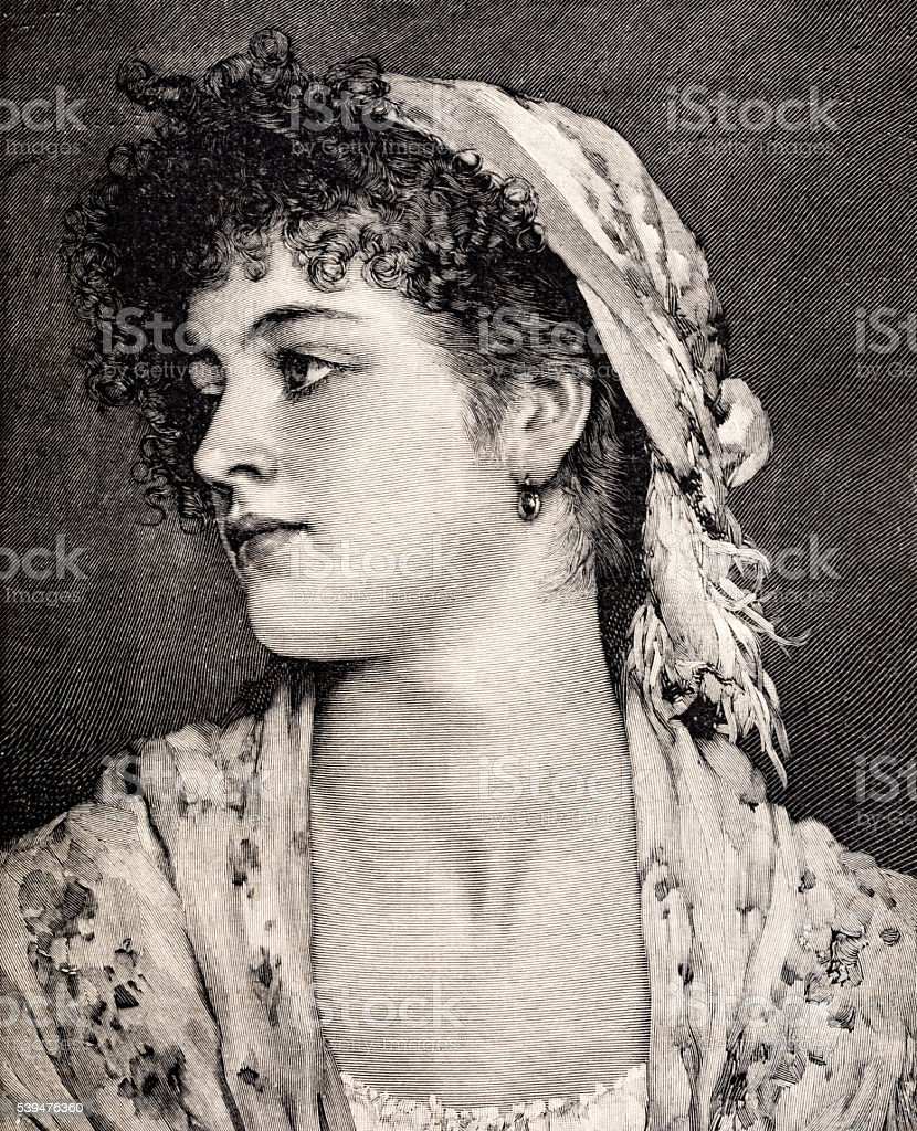 Engraving of a Romantic young woman in 1889 stock photo