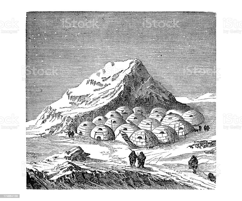 Engraving of artic village with igloos and eskimos from 1876 royalty-free stock vector art