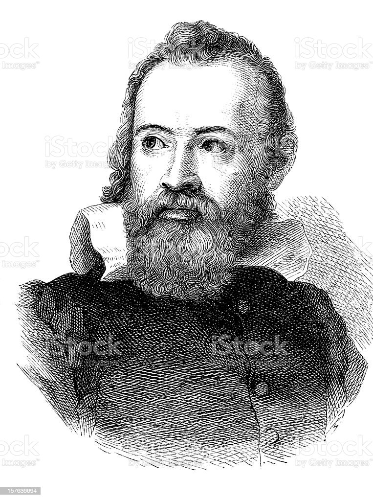 Engraving of astronomer Galileo Galilei from 1870 vector art illustration