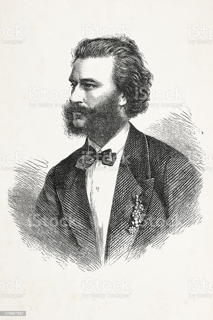 Engraving of austrian composer Johann Strauss from 1867 royalty-free stock vector art