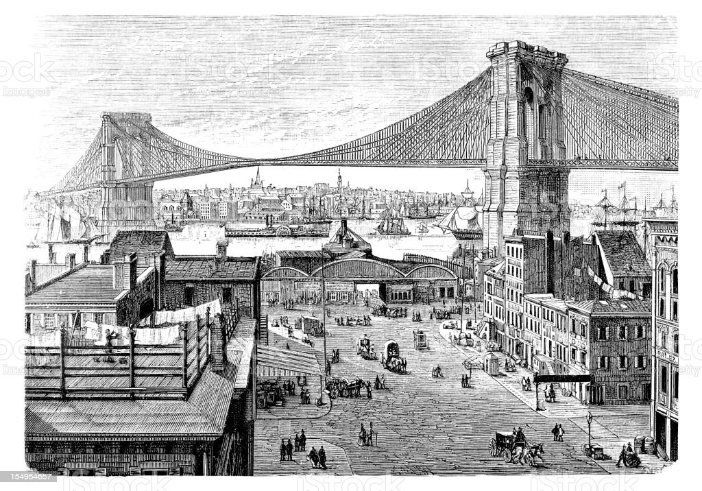 Engraving of Brooklyn bridge in New York City from 1877 royalty-free stock vector art