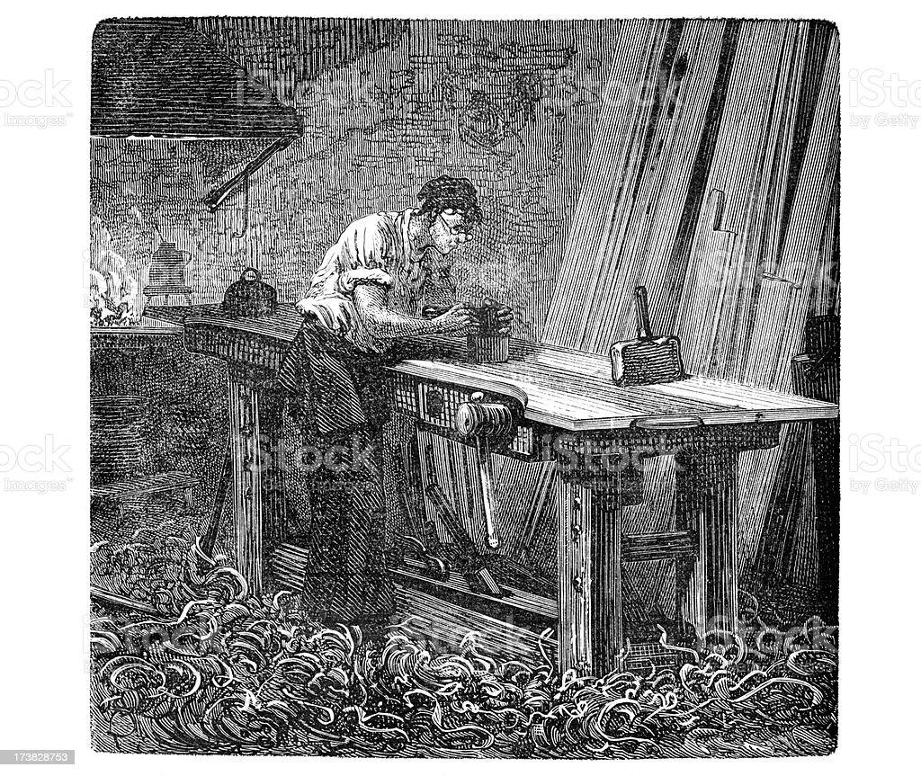 Engraving of carpenter in his workshop vector art illustration