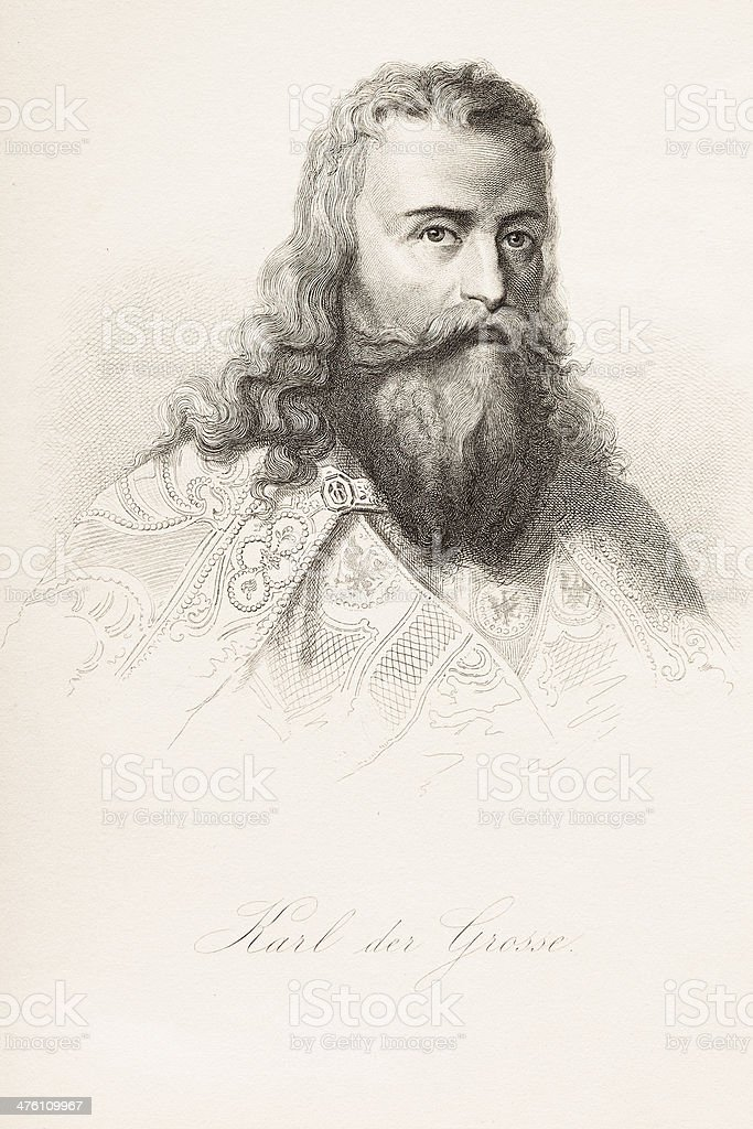 Engraving of Charles the Great from 1882 royalty-free stock vector art