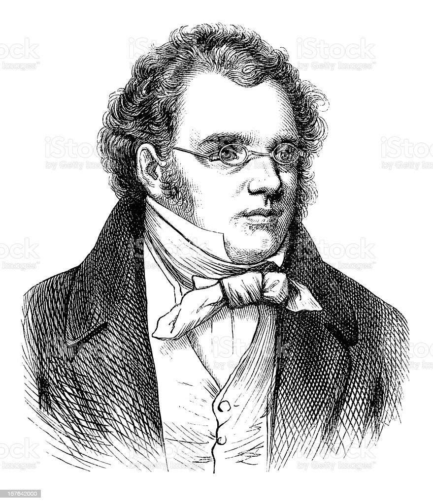 Engraving of composer Franz Schubert from 1870 royalty-free stock vector art