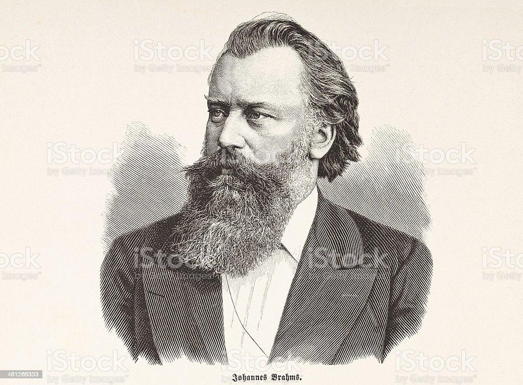 Engraving of composer Johannes Brahms from 1877 vector art illustration