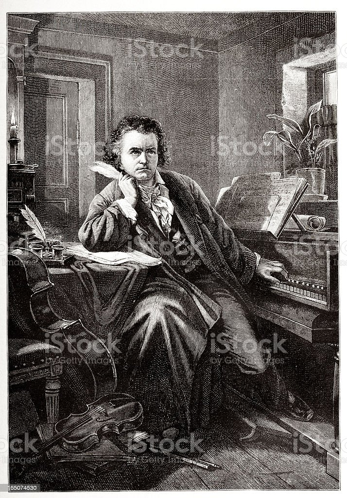 Engraving of composer Ludwig van Beethoven from 1882 vector art illustration
