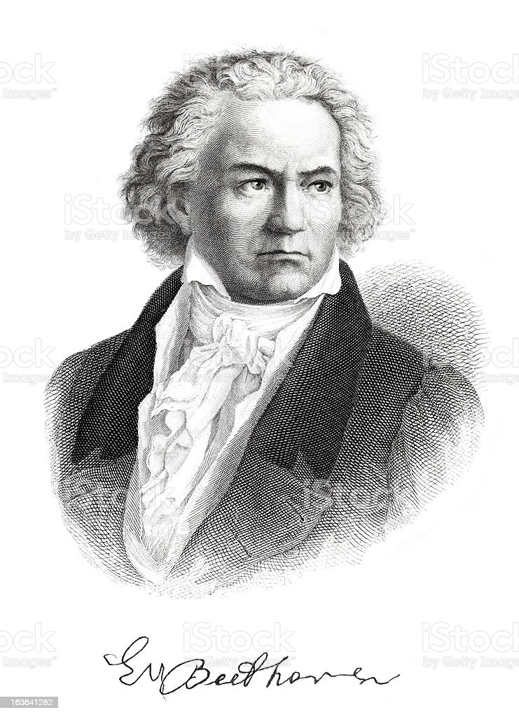 Engraving of composer Ludwig van Beethoven with signature from 1882 vector art illustration
