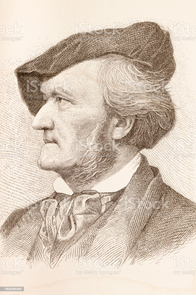 Engraving of composer Richard Wagner from 1882 royalty-free stock vector art