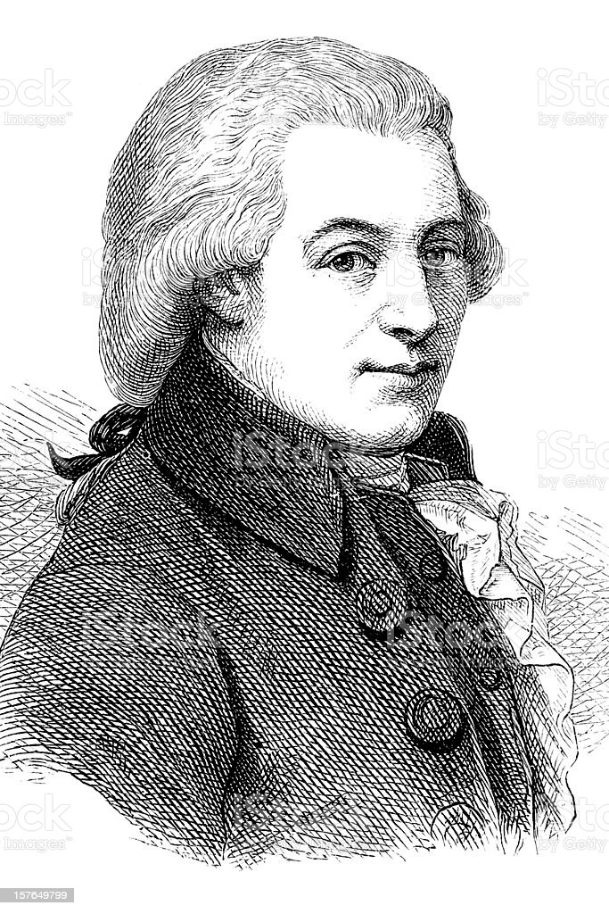 Engraving of composer Wolfgang Amadeus Mozart 1870 royalty-free stock vector art
