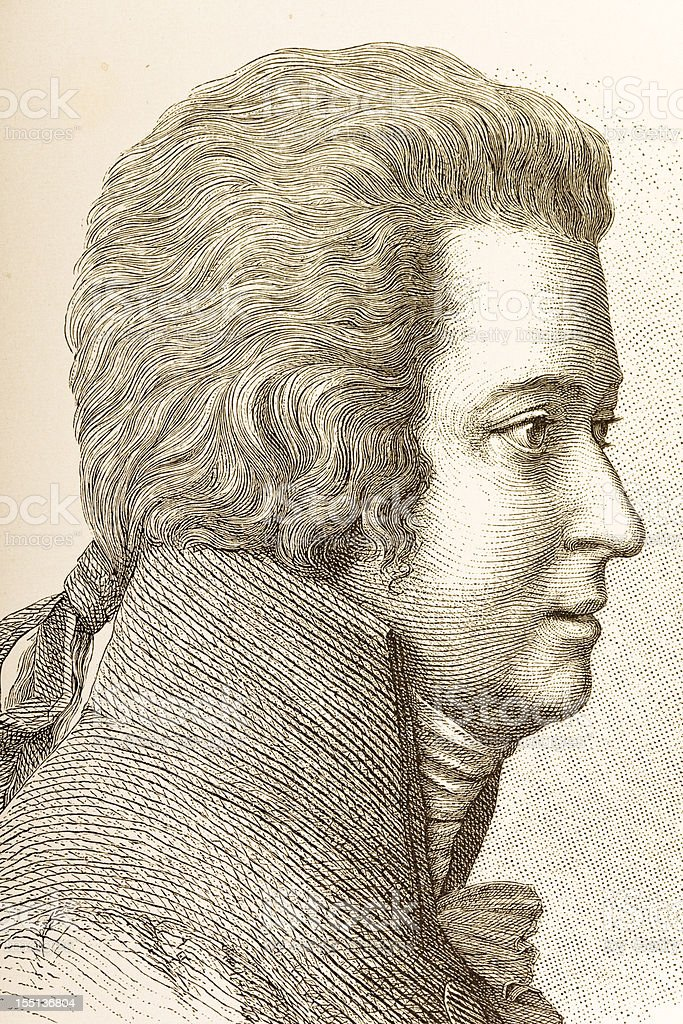 Engraving of composer Wolfgang Amadeus Mozart from 1882 vector art illustration