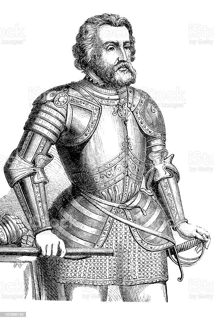 Engraving of conquistador Hernando Cortez from 1870 royalty-free stock vector art