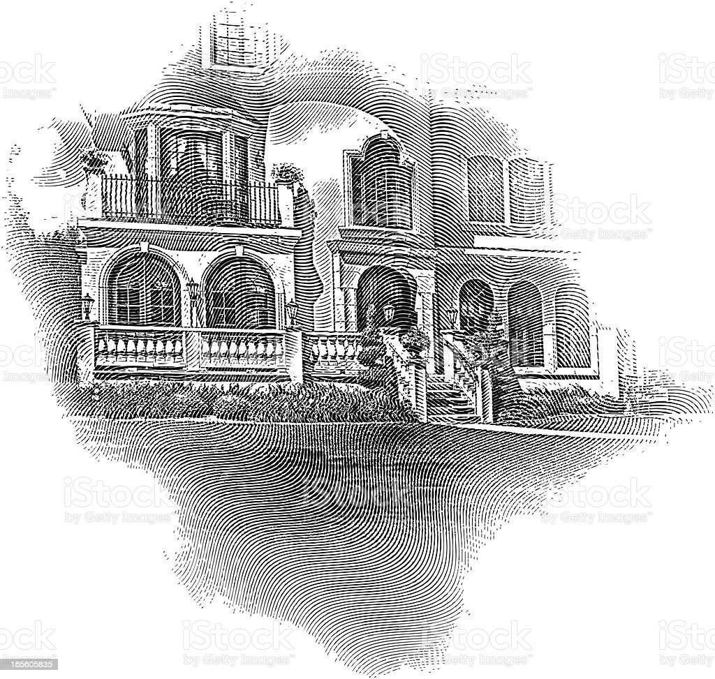 Engraving of Elegant Stone Home royalty-free stock vector art