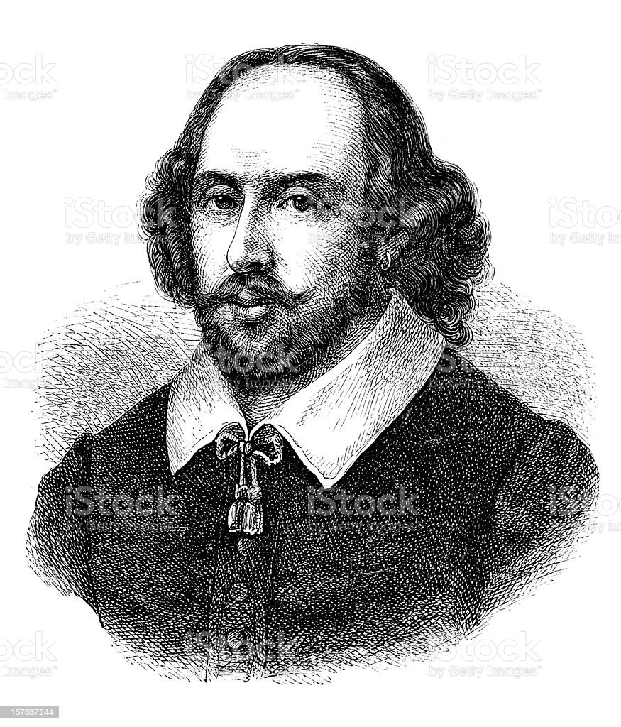 Engraving of english poet William Shakespeare from 1870 vector art illustration